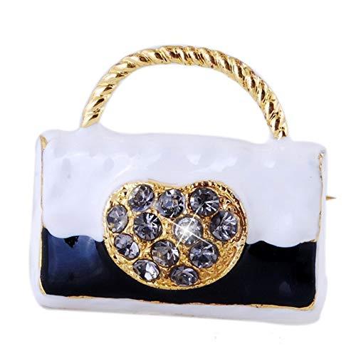 XZFCBH Broche Alfileres de Esmalte de Moda Cristal Dorado Chapado en Oro Señoras Lindas Bolso Azul Broche de aleación Bolsa Ropa Pin de Solapa Broche Joyas Regalos