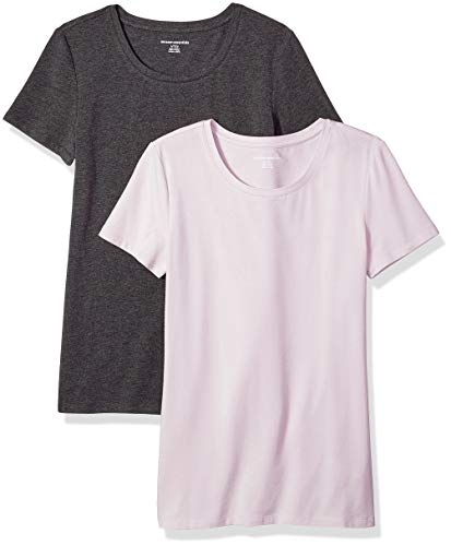 Amazon Essentials Women's 2-Pack Classic-Fit Short-Sleeve Crewneck T-Shirt, Light Purple/Charcoal Heather, Small