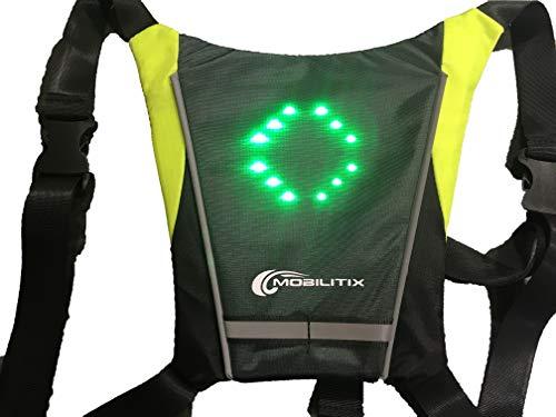 Mobilitix Led-jas, knippervest met afstandsbediening, weergave van de richting, in het Frans, veiligheid, fiets, step, waarschuwingsbord, reflecterend