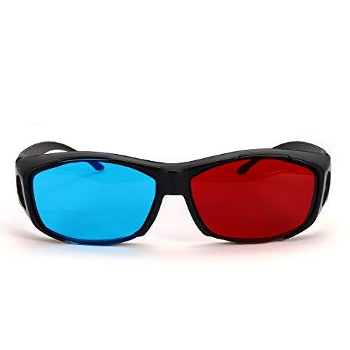 BouBou Rojo Azul Gafas 3D Marco Negro para Proyector De DVD De Juego De Película Anaglifo Dimensional