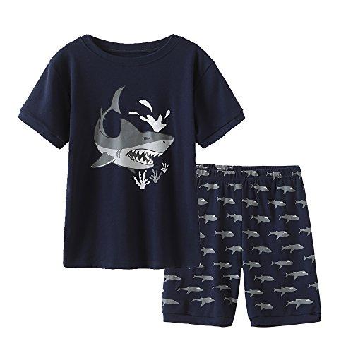 MyFav Big Boys Pajamas 2 Piece Short PJS Cute Cartoon Shark Sleepwear 6-14 Years Navy