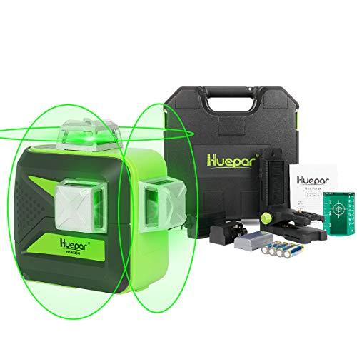 Huepar 3 x 360 Kreuzlinienlaser Selbstnivellierenden Laser Level, 3D Grün Linienlaser mit Pulsfunktion, 25m Arbeitsbereich, (inkl. Universal Lithiumbatterie, Halterung und hard Carry Box) - 603CG-H