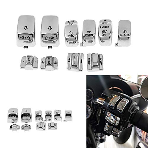 YHMTIVTU Hand Control Switch Housing Caps Cover for Harley Softail Dyna Road King Heritage Tour Glide Fat boy Chrome 10 pcs