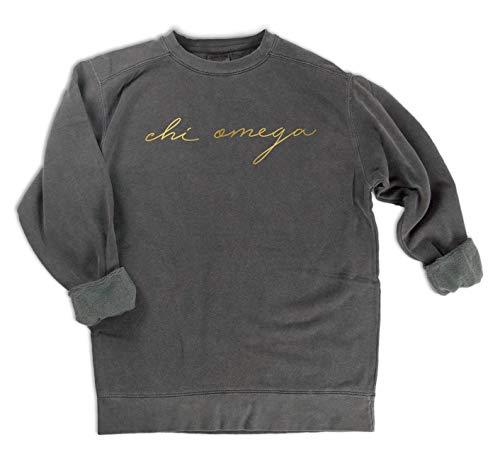 Chi Omega Gold Script Comfort Colors Sweatshirt (Medium)