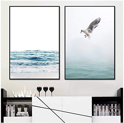 Surfilter Nordic Poster Blaues Meer Wandkunst Leinwand Malerei Poster und Drucke Leinwand Kunst Wandbilder für Wohnzimmer Vogel Foto 15.7ABC 22 rdquo; x 19.6ABC 22 rdquo; (40x50cm) x2 Kein Rahmen