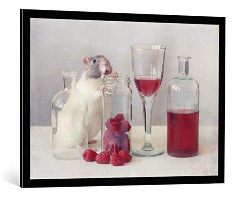 kunst für alle Bild mit Bilder-Rahmen: Ellen Van Deelen Raspberries - dekorativer Kunstdruck, hochwertig gerahmt, 100x70 cm, Schwarz/Kante grau