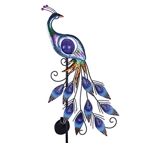TERESA'S COLLECTIONS 31.5 inch Metal Peacock Decor Garden Solar Lights Solar Peacock Stake for Outdoor Patio Yard Decorations, Autumn Fall Decor for Outside