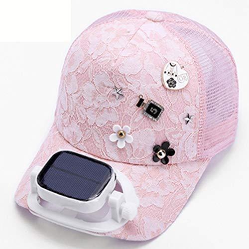 Byrotson Sombrero para el Sol para Mujer con Ventilador Solar, protección UV de Verano, Sombrero de béisbol de ala Ancha, Sombreros de Playa, con energía Solar/Carga USB,Rosado,One Size