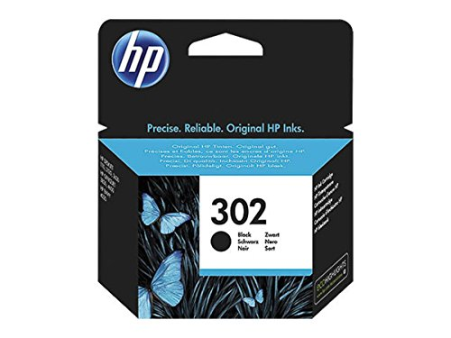 HP Original Tinte passend Envy 4524 e-All-in-One 302, 302BK, 302BLACK, NO302, NO302BK, NO302BLACK F6U66AE - 1x Premium Drucker-Patrone - Schwarz - 190 Seiten - 3,5 ml
