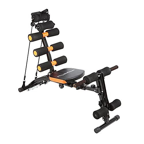 Sistema de tonificación muscular 12 en 1 - máquina con asiento giratorio, Remo, abdominales - entrenamiento fuerza y aeróbico de tronco, abdominales, piernas, brazos, pecho, espalda - Plegable