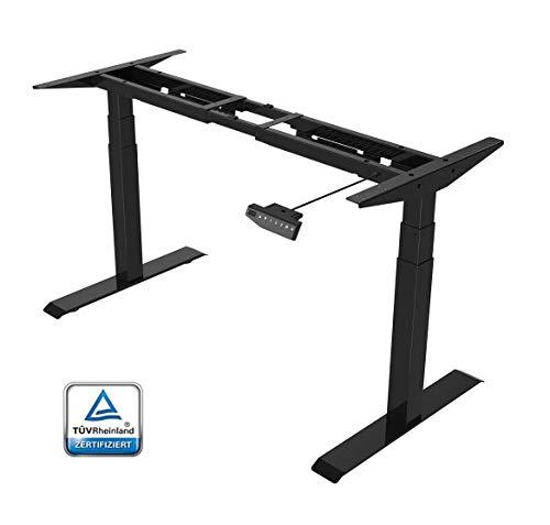 Flexispot E6 Höhenverstellbarer Schreibtisch Elektrisch höhenverstellbares Tischgestell 3-Fach-Teleskop, mit Memory-Steuerung und Softstart/-Stop & integriertes Anti-Kollisionssystem (Schwarz)