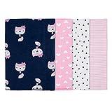 "GERBER Baby Girls' 4-Pack Flannel Burp Cloth, Fox, 20"" x 14"""