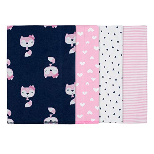 Gerber Baby Girls' 4-Pack Receiving Blanket, Pink Fox, 30