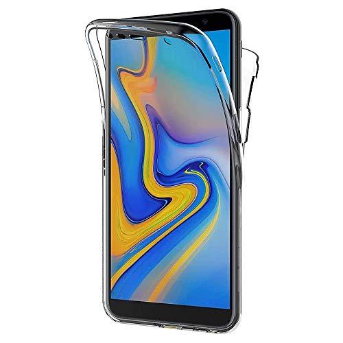 NewTop Cover per Samsung Galaxy J6 Plus, Custodia Crystal Case in TPU Silicone Gel PC Protezione 360° Fronte Retro Completa (per J6 Plus)