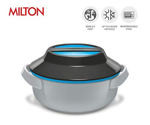 Milton Microwow Patented World's 1st Microwaveable Steel Insulated Hot Pot Serving Bowl with Lid Hot/Cold Up to 5 Hours, Available in 3 sizes (28 oz, Grey)