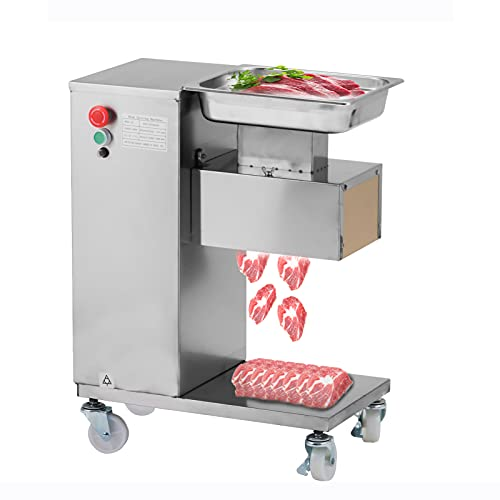 Commercial Meat Cutter, Electric Meat Cutting Machine 550W, 1100LB/H Commercial Meat Slicer with 2 Set Blades Stainless Steel For Kitchen Restaurant Supermarket