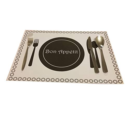 Sets de table en papier jetables A3 - Rectangulaire - Pour intérieur et extérieur - Antidérapant, Bois dense, blanc, 25 sheets