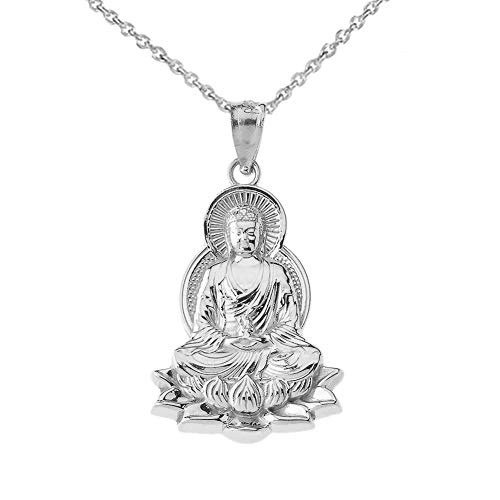 Little Treasures Buddha in Lotus Flower Pendant Necklace in Sterling Silver (Comes with an 18' Chain)