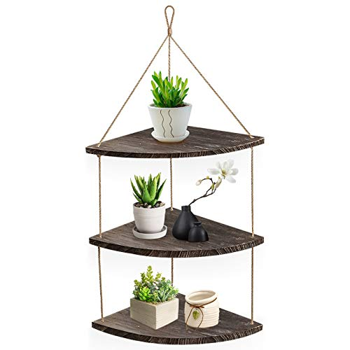 AGSIVO Floating Shelves with String, Hanging Corner Shelf 3 Tier Wall Mounted Jute Rope, Rustic Wood Wall Shelves Swing Shelf Home Storage Organizer Wall Decor for Bedroom Living Room Bathroom