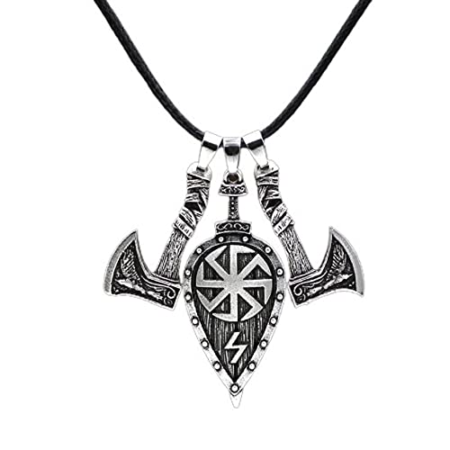 Norse Viking Axe Shield Sword Necklace for Men, Celtic Rune Amulet Necklace Punk Odin Axe Shield Pendant Necklace for Boys (Silver)