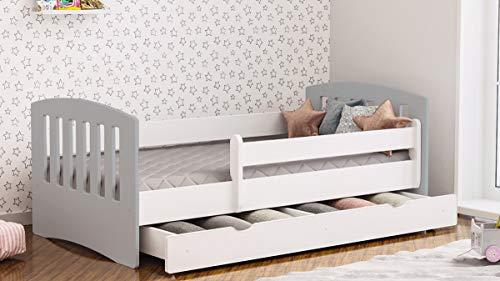 Cama Infantil 80x140 80x160 80x180 Cama Individual Para Niños Con Colchón y Cajón Incluido - Gris - 180x80