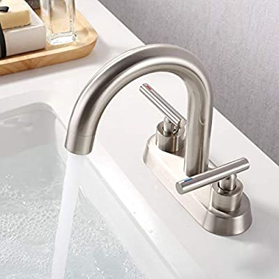 KES 4 Inches Centerset Bathroom Sink Faucet Morden 2 Handles Vanity Faucet Lead Free Brass Construction, Brushed Nickel Finish, L4117LF-BN