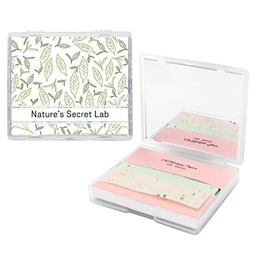 [200 Counts + Mirror Case] Face Oil Blotting Paper Sheets with Makeup Mirror - Green Tea Oil Absorbing Sheets made in Japan