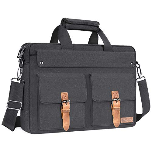 MOSISO Laptop Messenger Bag Up to 15.6 inch, Business Briefcase for Men Women with Trolley Belt, Canvas Carry On Shoulder Handbag with Strap, Durable Office Bag Compatible MacBook & Notebook,Dark Gray