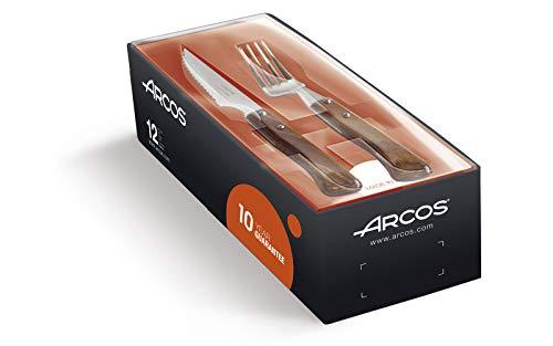 Arcos Couteaux de Table - Set de Couteaux à Steak 12 pièces (6 Couteaux + 6 Fourchette) - Acier Inoxydable - Manche Bois Comprimé Couleur Brun