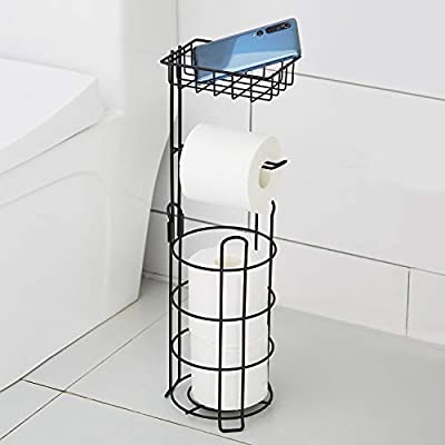 DECLUTTR Freestanding Toilet Paper Holder with Shelf, Toilet Tissue Roll Holder Stand and Dispenser for Bathroom Storage, Black