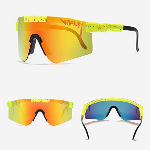 SXFJF Gafas De Sol Deportivas Polarizadas De Pit Viper, Gafas De Ciclismo A Prueba De Viento Al Aire Libre para Hombres, Correr Gafas De Esquí De Pesca De Manejo, Lentes con Espejo UV,C2