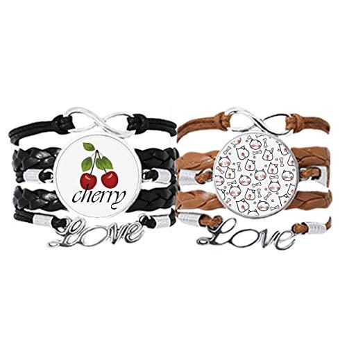 Bestchong Armband für Katzen und Hunde, Knochenschutz, Handschlaufe, Lederseil, Kirschen-Liebesarmband, Doppelset