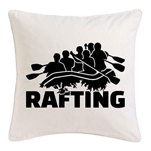 Reifen-Markt Kissenbezug 40x40cm Rafting - WILDWASSER - SCHLAUCHBOOT - Rafting AUSRÜSTUNG - Rafting Tour aus Mikrofaser in Weiß