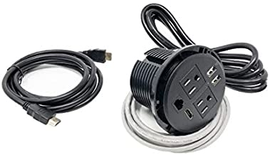 UL Listed Power Plug in-Desk Power Center Table Top Grommet Furniture Power Data Hub-2 USB Port, 2 AC Power, 1 HDMI, 1 CAT6 Port Conference Table Connectivity Box (DC8689-Round-Black)