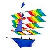 Cometas para niños, Rainbow Kite, Cometa 3D Grande, Mediana para niños y Adultos, 3 pies, fácil de Volar, Cometa voladora de Barco de Vela con una Sola línea de 98 pies