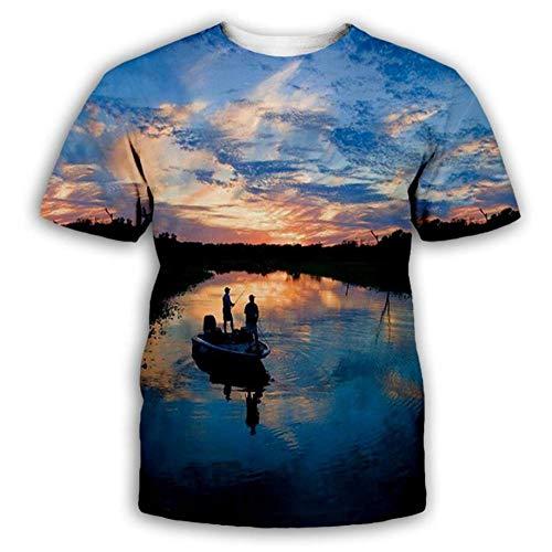 Sunset Clouds River Boat Camiseta De Hombre 3D Impresa De Manga Corta Personalizada Summer Top-6Xl