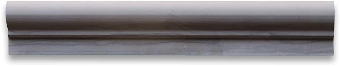 Athens Grey Haisa Dark Wood Grain Marble Chair Rail Bullnose Trim Molding 2 x 12 Honed