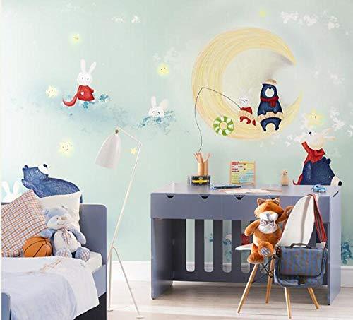 3D vliesbehang Moon Cute Bear Rabbits wandschilderijen 3D fotobehang wallpaper voor babykamer 250*175 250 x 175 cm.