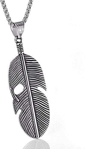 Collar para hombres, mujeres, acero inoxidable, colgante, collar, accesorios, titanio, acero, pluma, colgante, collar, personalidad retro, colgante, moda, colgante, collar, niñas, niños, regalo