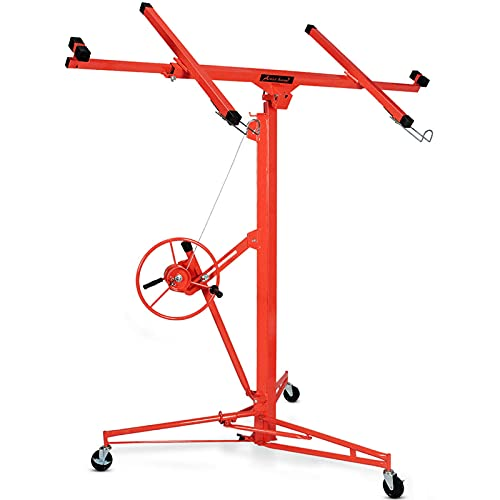 Drywall Panel Lift,11' x 150 lbs Rolling Caster Construction Tool with Lockable Wheel and Adjustable Arm