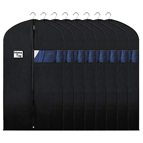 "Syeeiex Hanging Suit Garment Bag with Zipper and Clear Window 40"" Breathable Clothes Covers for Men Dress Coat Shirt Organizer Black,8Pcs"