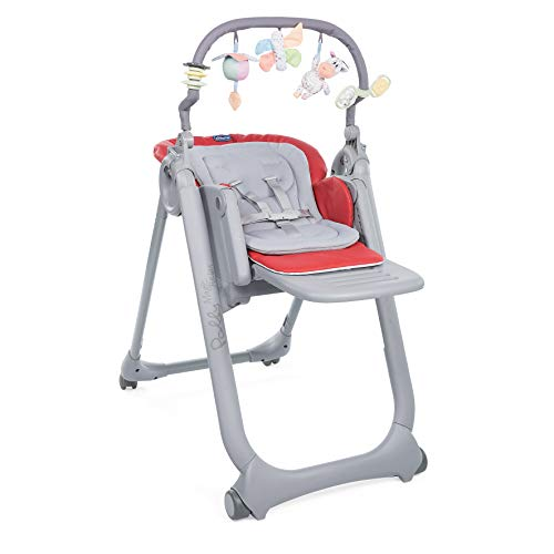 Chicco - Chaise Haute Bébé Polly Magic Relax 4 Roues - Evolutive - Scarlet
