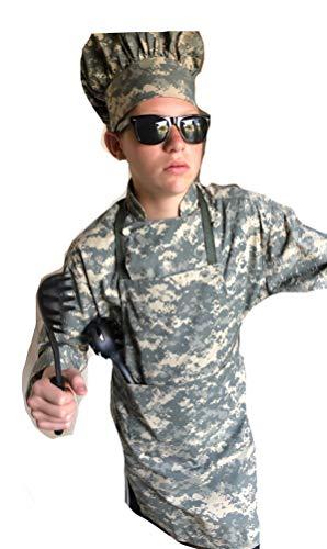 CHEFSKIN Original Chef Set in Camo Army Digital ACU Camouflage Children Sizes Jacket Apron hat XXL (fits 10-13 yrs)