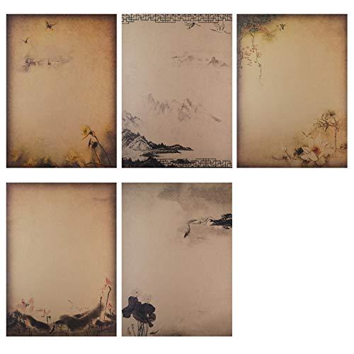 BLUGUL 40 Blatt Vintage Briefpapier, Altes Papier, Chinesischen Stil Kraft