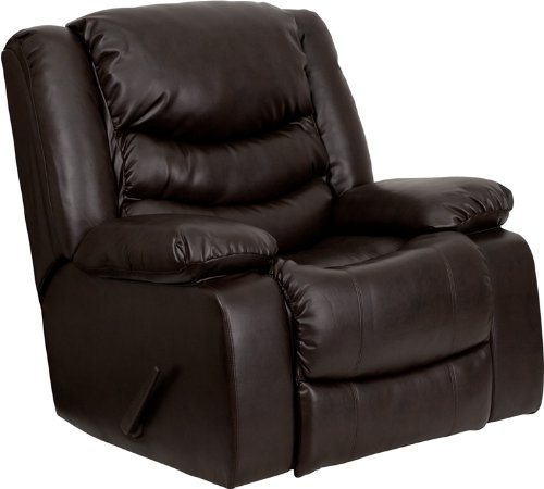 Flash Furniture Plush Brown Leather Lever Rocker Recliner with Padded...