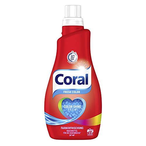 Coral Waschmittel flüssig für bunte Wäsche – 22 Waschladungen hygienisch reine Wäsche, extra frisch dank Frischeformel – Optimal Color Flüssigwaschmittel ( 1 x 1,1 L)