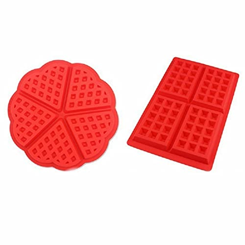 Voarge 2 piezas Molde Gofres Silicona, Moldes Waffle, Galletas para Tarta Muffin Cocina Herramientas, para Lavavajillas, Horno, Microondas, Refrigerador, color rojo