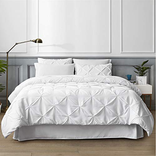 Bedsure White Queen Comforter Set - Bed in A Bag 8 Pieces, Pinch Pleat Bedding Comforter Set for Queen Bed with Sheets