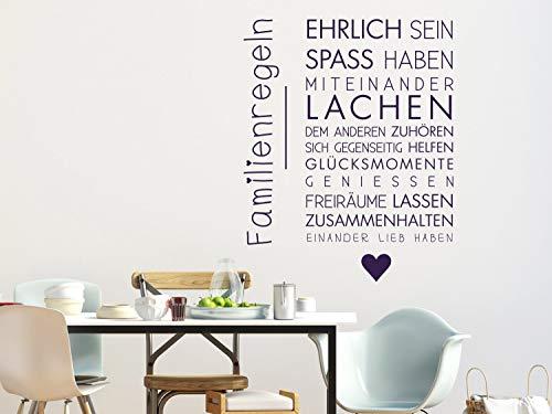GRAZDesign Wandtattoo Familientattoo Familienregeln als Wand-Dekoration Wand-Aufkleber für Wohnzimmer Wand-Sprüche / 38x30cm / 070 schwarz