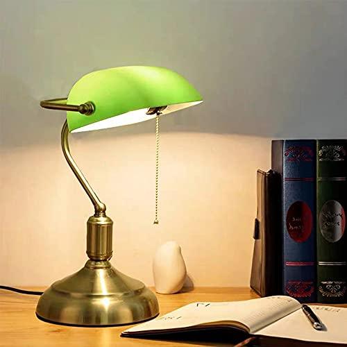 Chao Zan Lámpara de mesa de banco E27 Lámpara de escritorio Metal Pantalla de cristal verde esmeralda Cuerpo Lámpara de noche vintage Lámpara Lámpara Dormitorio...